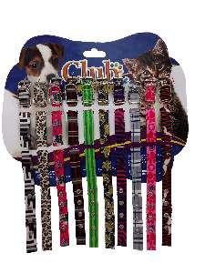 Coleira seda com fecho e fivela - Pequeno - Club Pet Viva - Cartela com 10 unidades - 290x15x4mm