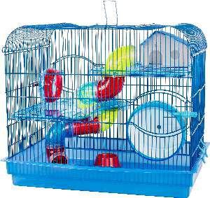 Gaiola para Hamster com Andar Acrílico - Jel Plast - (46 cm x 51 cm x 34 cm) - Azul