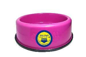 Comedouro pesado pata/osso rosa 450ml - Club Still Pet - 18,3x5cm