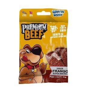 Bifinho frango premium beef 60g - Mister Bone - caixa com 30 unidades - 22x21x16cm