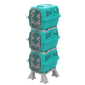 Móvel plast canil/gatil kennel club azul tiffany - Plast Pet - 80x59x185cm