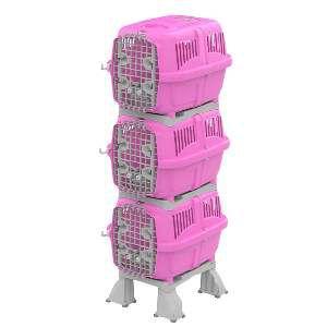 Móvel plast canil/gatil kennel club rosa - Plast Pet - 80x59x185cm