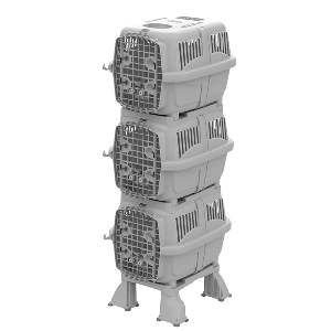 Móvel plast canil/gatil kennel club cinza - Plast Pet - 80x59x185cm