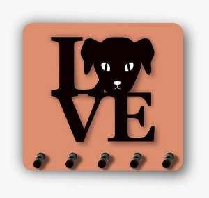 Porta chaves madeira 3D love dog - Tatuagem Mania - 10x15cm