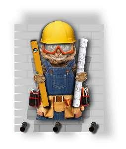 Porta chaves madeira gato arquiteto 3 pinos - Tatuagem Mania - 11,5x14cm