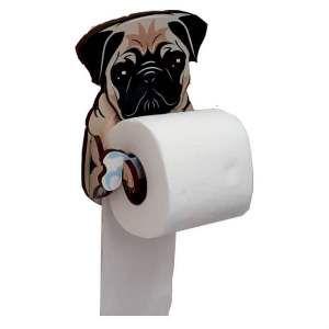 Porta papel higienico madeira 3D pug - Tatuagem Mania - 15x18cm