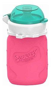 Garrafinha de Silicone Squeasy Baby Acqua Pink 180ml