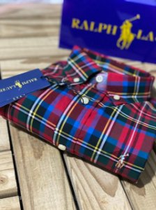 Camisa Ralph Lauren Masculina Custom Fit Plaid Vermelha