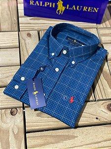 Camisa Ralph Lauren Masculina Custom Fit Xadrez Azul e verde