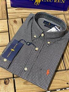 Camisa Ralph Lauren Masculina Custom Fit Xadrez Preta