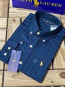 Camisa Ralph Lauren Masculina Custom Fit Xadrez marinho