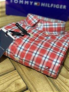 Camisa Tommy Hilfiger Masculina Regular Fit Xadrez Vermelha