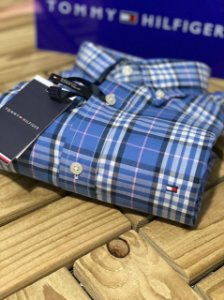 Camisa Tommy Hilfiger Masculina Regular Fit Xadrez Azul