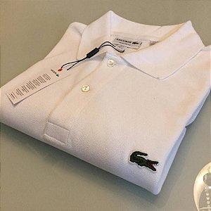 Camisa Polo Lacoste Croc Bordado Branca