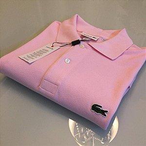 Camisa Polo Lacoste Croc Bordado Rosa