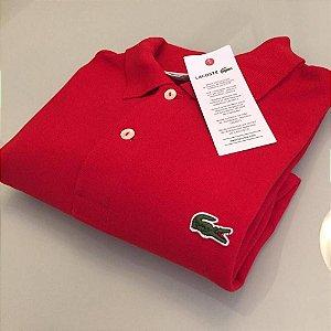 Camisa Polo Lacoste Croc Bordado Vermelha