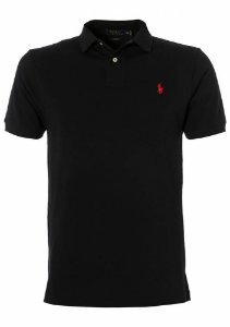 Camisa Polo Ralph Lauren Custom-Fit Preta