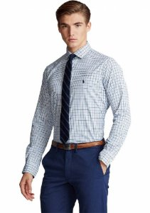 Camisa Ralph Lauren Masculina Custom Fit Plaid Azul e branca