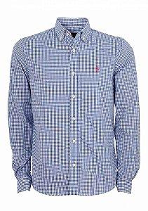 Camisa Ralph Lauren Masculina Custom Fit Quadriculada Azul