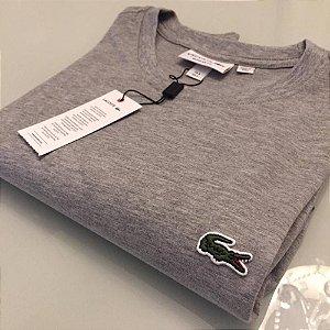 Camiseta Lacoste Basic Croc Bordado Cinza