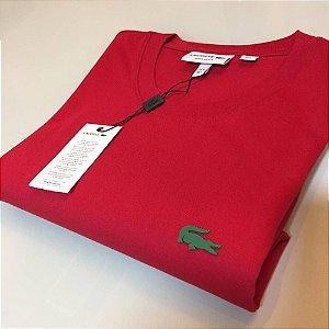 Camiseta Lacoste Basic Croc Borracha Vermelha