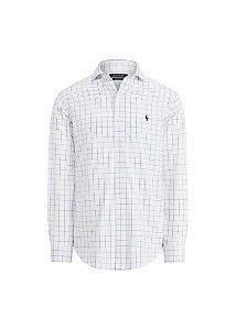 Camisa Ralph Lauren Masculina Custom Fit Xadrez Branca