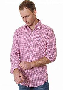 Camisa Ralph Lauren Masculina Custom Fit Quadriculada Rosa