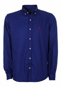 Camisa Ralph Lauren Masculina Custom Fit Smooth Azul escuro
