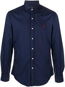 Camisa Ralph Lauren Masculina Custom Fit Azul Marinho