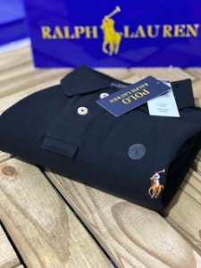 Camisa Polo Ralph Lauren Custom-Fit Coloured Preta