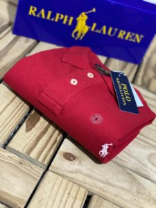 Camisa Polo Ralph Lauren Custom-Fit Vermelha