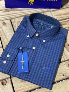 Camisa Ralph Lauren Masculina Custom Fit Plaid Azul marinho