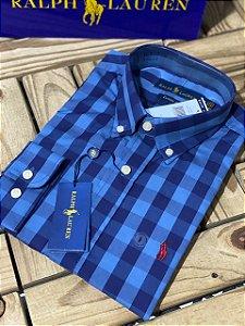 Camisa Ralph Lauren Masculina Custom Fit Plaid Azul