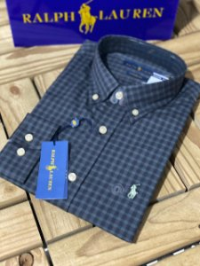 Camisa Ralph Lauren Masculina Custom Fit Plaid Preta