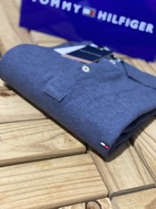 Polo Tommy Hilfiger Masculina Regular Fit Azul mescla