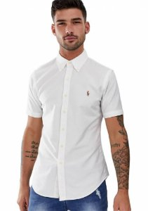 Camisa Ralph Lauren Masculina Custom Fit Oxford Coloured Branca