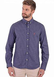 Camisa Ralph Lauren Masculina Custom Fit Xadrez Azul
