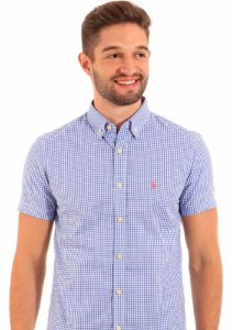 Camisa Ralph Lauren Manga Curta Masculina Quadriculada Azul