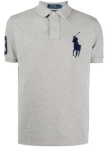Camisa Polo Ralph Lauren Custom-Fit Big Pony Cinza
