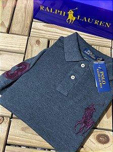 Camisa Polo Ralph Lauren Custom-Fit Big Pony Chumbo