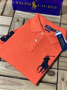 Camisa Polo Ralph Lauren Custom-Fit Big Pony Laranja