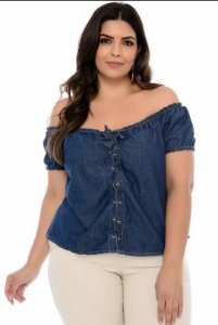 BLUSA JEANS OMBRO A OMBRO PLUS SIZE