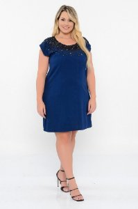 VESTIDO CAMISETA JEANS BORDADO PLUS SIZE