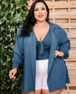 CAMISA COM CROPPED - PLUS SIZE
