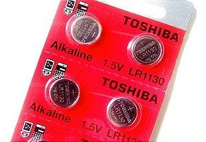 Bateria LR 1130 alkalina 1,5v cartela com 10 baterias toshiba
