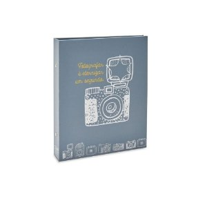 Álbum Photo Lovers Rebites Câmera Cinza 160 Fotos 10X15 Único