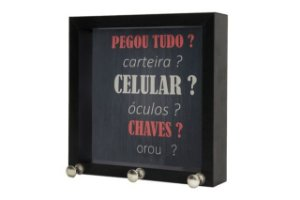 P.CHAVE 12X12CM FRASES PRETO