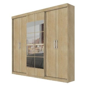 Guarda-Roupa 6 Portas Com Espelho, Édez PH1675, 2 Gavetas, Amêndoa