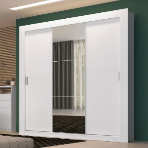 Guarda-Roupa 3 Portas de Correr Édez PH1708, com Espelho, Branco