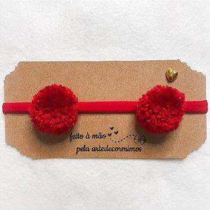 tiara meia de seda pompom vermelho